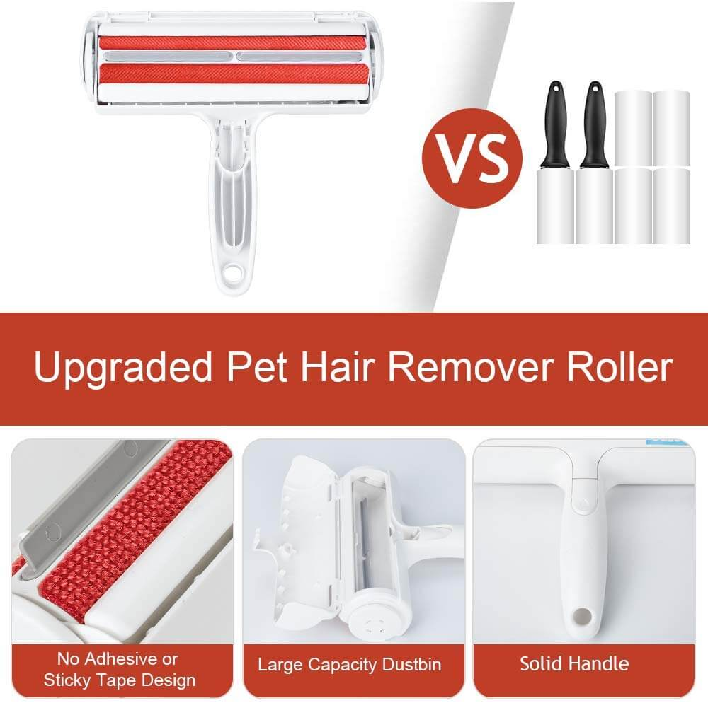 Buy Petsasa 2 Way Pet Hair Remover Lint Roller – Dog & Cat Fur Remover with Self-Cleaning Base – Perfect for Furniture, Couch, Carpet, Car Seat